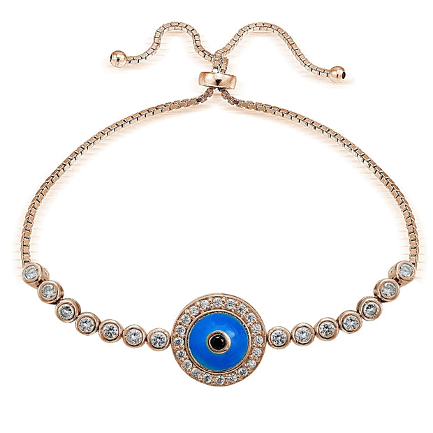 Rose Gold Tone over Sterling Silver Blue Cubic Zirconia Enamel Round Evil Eye Adjustable Bracelet