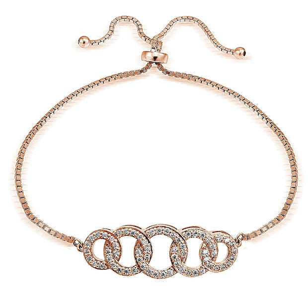 Rose Gold Tone over Sterling Silver Cubic Zirconia Intertwining Circles Adjustable Bracelet