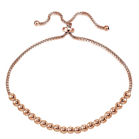 Rose Gold Flashed Sterling Silver 4mm Bead Adjustable Bracelet