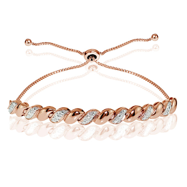 Rose Gold Flash Sterling Silver Diamond Accent San Marco Adjustable Bolo Bracelet