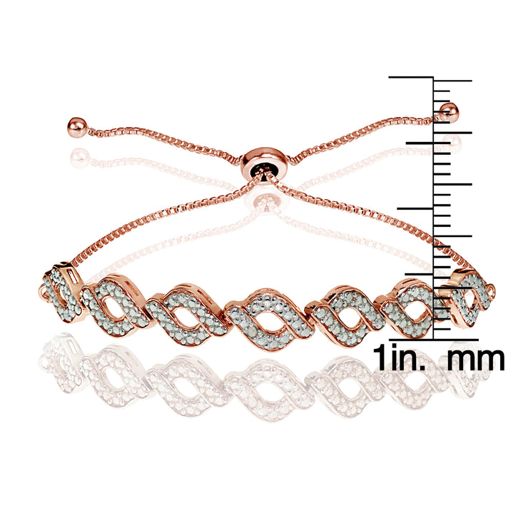 Rose Gold Flash Sterling Silver Diamond Accent Wave Braid Adjustable Bolo Bracelet