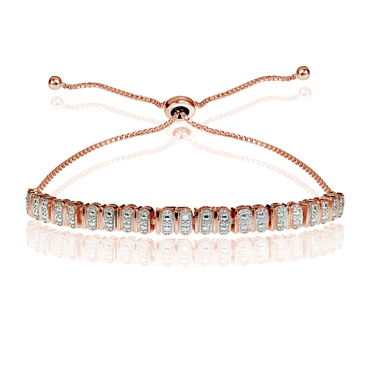 Rose Gold Flash Sterling Silver Diamond Accent Studded Tennis Adjustable Bolo Bracelet