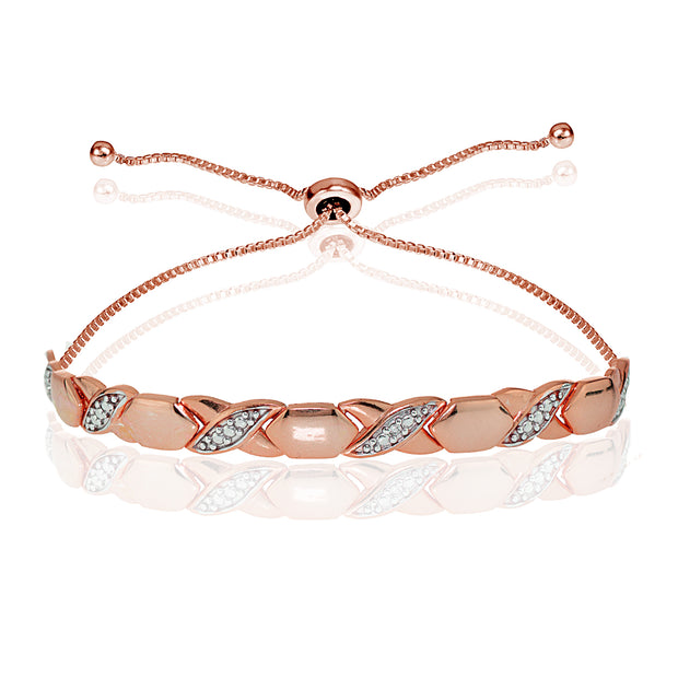 Rose Gold Flash Sterling Silver Diamond Accented XO Adjustable Bolo Bracelet