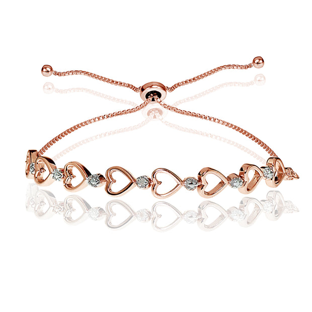 Rose Gold Flash Sterling Silver Diamond Accented Open Heart Link Adjustable Bolo Bracelet