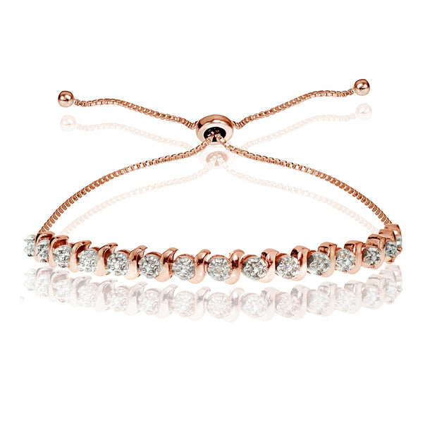 Rose Gold Flash Sterling Silver Diamond Accented Round S-link Adjustable Bolo Bracelet