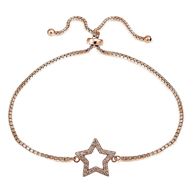 Rose Gold Tone over Sterling Silver Cubic Zirconia Star Adjustable Bracelet