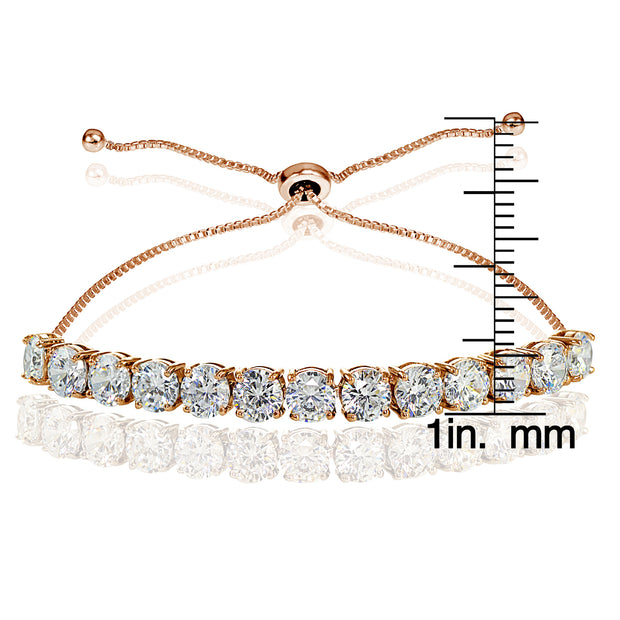 Rose Gold Flashed Sterling Silver Cubic Zirconia 5mm Round-cut Adjustable Bracelet