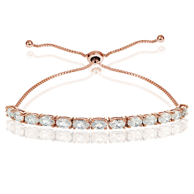 Rose Gold Flashed Sterling Silver Cubic Zirconia 5x3mm Oval-cut Adjustable Bracelet