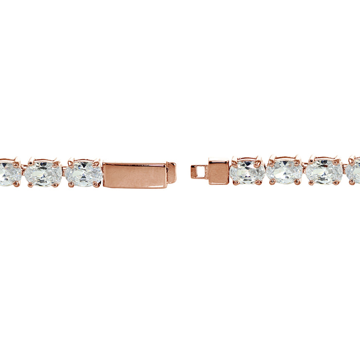 Rose Gold Sterling Silver Cubic Zirconia 6x4mm Oval-cut Tennis Bracelet