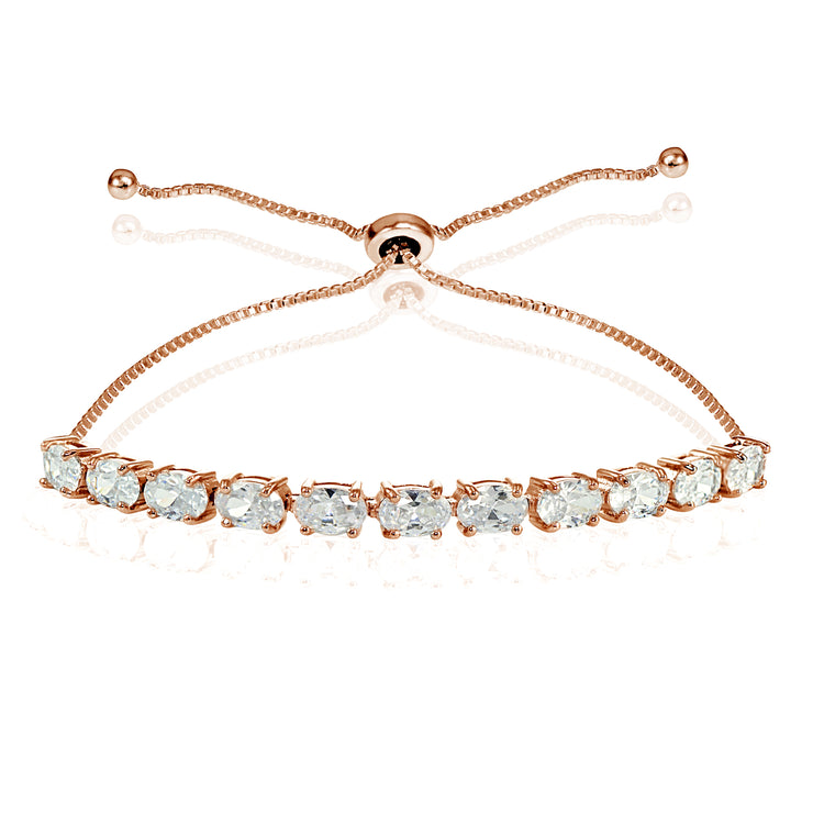 Rose Gold Flashed Sterling Silver Cubic Zirconia 6x4mm Oval-cut Adjustable Bracelet