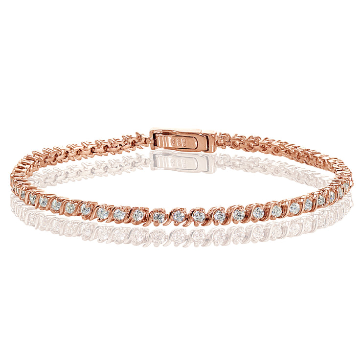 Rose Gold Sterling Silver Cubic Zirconia 2mm Round-cut S Design Tennis Bracelet
