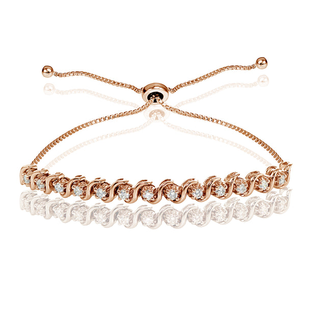 Rose Gold Flashed Sterling Silver Cubic Zirconia 2mm Round-cut S Design Adjustable Bracelet