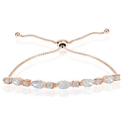 Rose Gold Flashed Sterling Silver Cubic Zirconia Marquise and Oval-cut Adjustable Bracelet