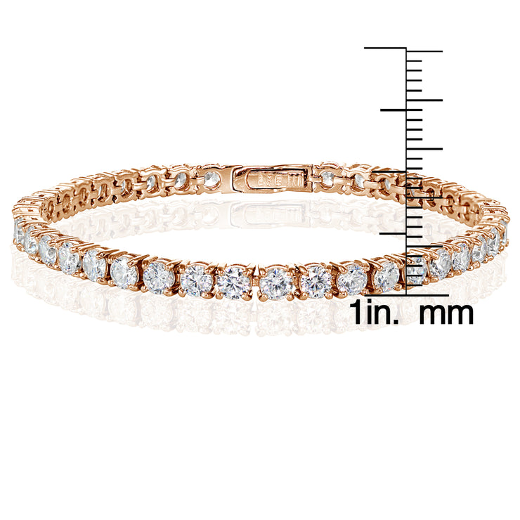 Rose Gold Sterling Silver Cubic Zirconia 4mm Round-cut Tennis Bracelet