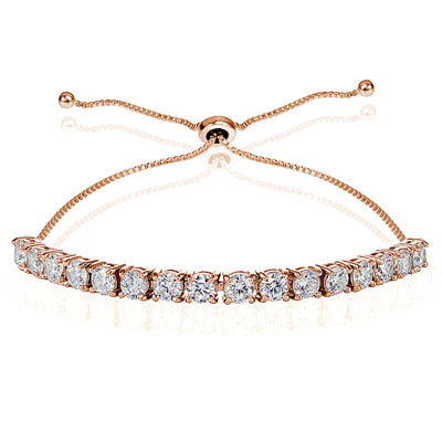 Rose Gold Flashed Sterling Silver Cubic Zirconia 4mm Round-cut Adjustable Bracelet