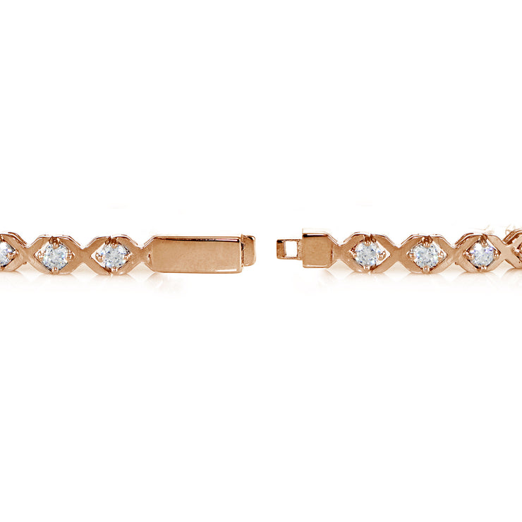Rose Gold Sterling Silver Cubic Zirconia XO Design Tennis Bracelet