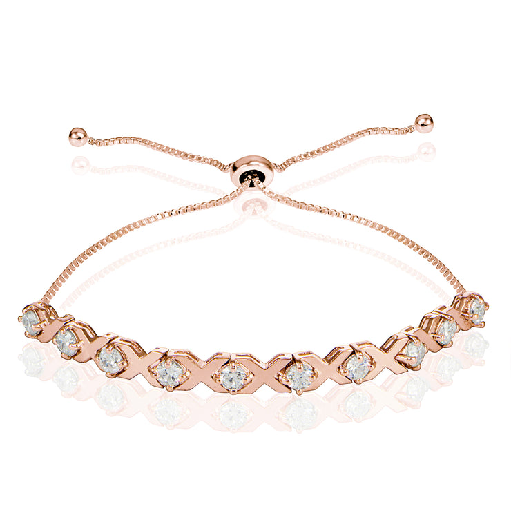 Rose Gold Flashed Sterling Silver Cubic Zirconia XO Design Adjustable Bracelet