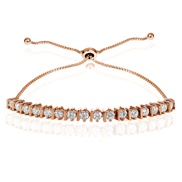 Rose Gold Flashed Sterling Silver Cubic Zirconia 3mm Adjustable Bracelet