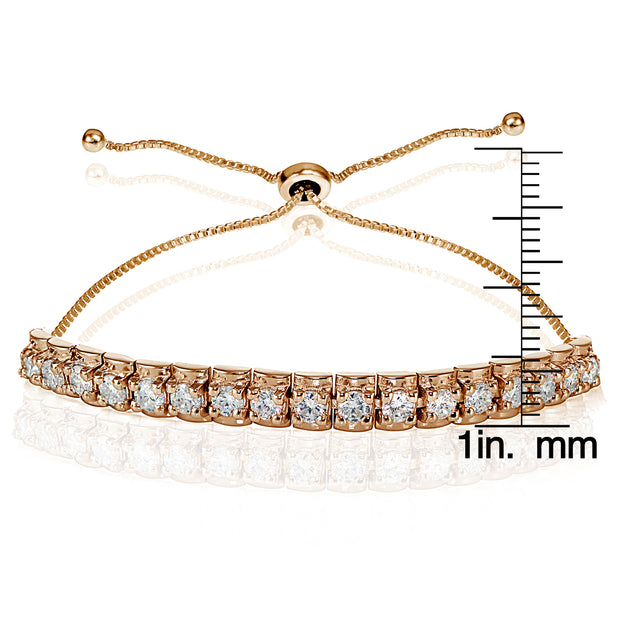 Rose Gold Flashed Sterling Silver Cubic Zirconia 3mm Bar Adjustable Bracelet