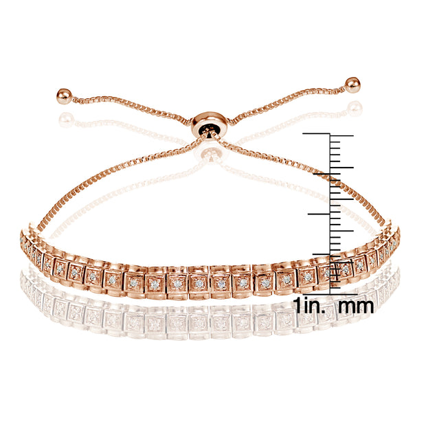 Rose Gold Flashed Sterling Silver Cubic Zirconia 1.3mm Bar Adjustable Bracelet