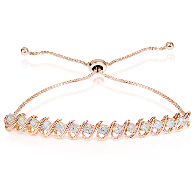 Rose Gold Flashed Sterling Silver Cubic Zirconia S-Link Design Adjustable Bracelet