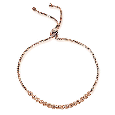 Rose Gold Flashed Sterling Silver Disco Ball Beaded Adjustable Bolo Bracelet