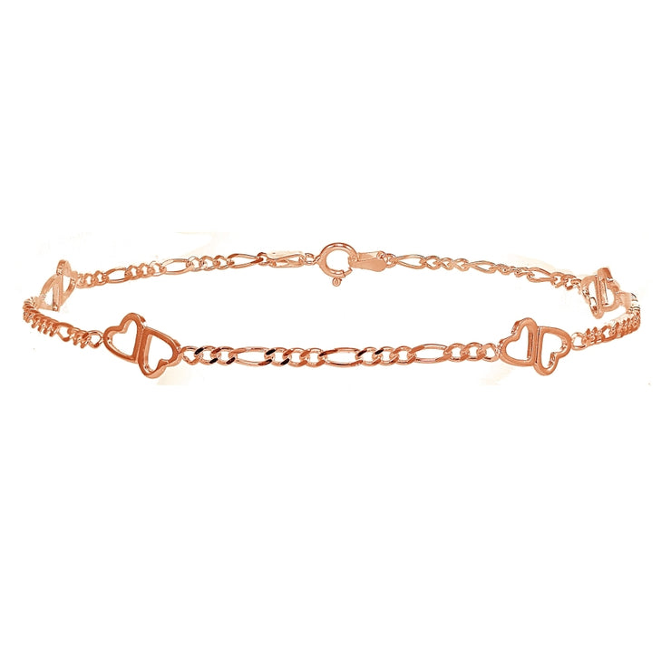 Rose Gold Flashed Sterling Silver Figaro Link Chain with Double Hearts Bracelet