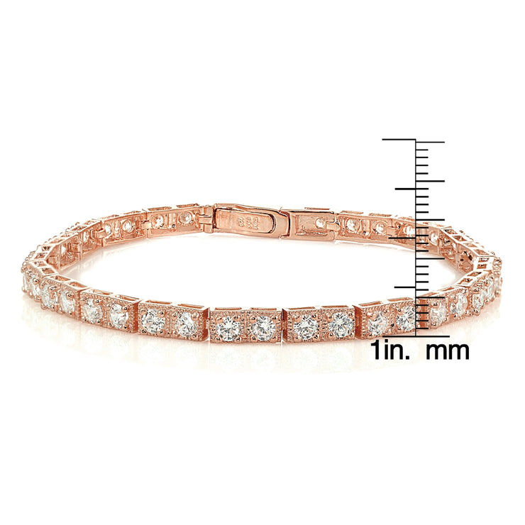 Rose Gold Sterling Silver 3mm Cubic Zirconia Classic Bar Tennis Bracelet