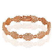 Rose Gold Flashed Sterling Silver Polished Vintage Filigree Swirl Bracelet