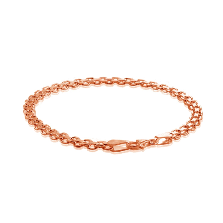 Rose Gold Flashed Sterling Silver 4mm Bismark Chain Bracelet, 8 Inches