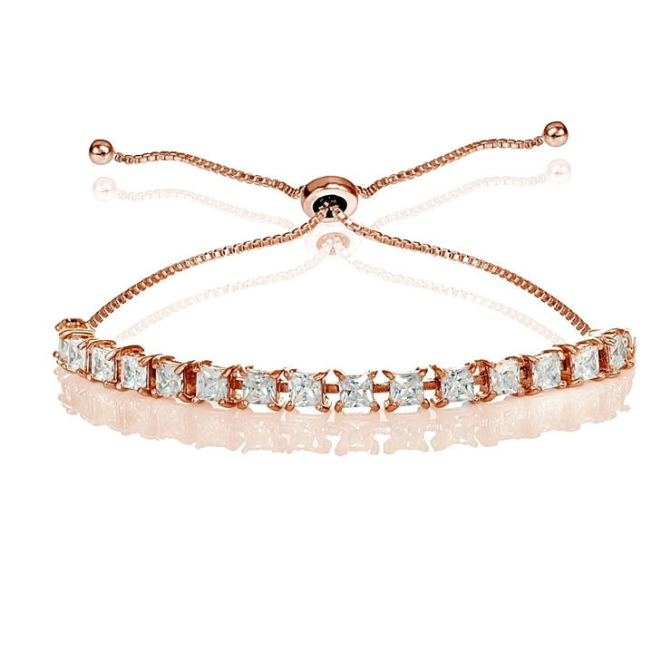 Rose Gold Sterling Silver 3mm Cubic Zirconia Princess-cut Adjustable Bolo Tennis Bracelet