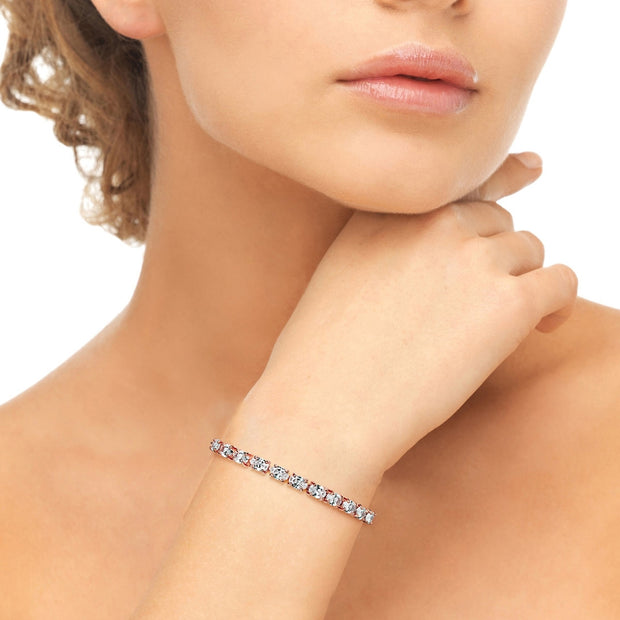 Rose Gold Flashed Sterling Silver 6x4mm Oval Adjustable Bracelet Made with Swarovski Zirconia