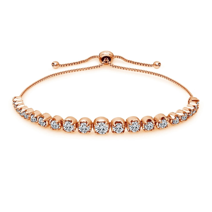 Rose Gold Flashed Sterling Silver Cubic Zirconia Round Graduated Adjustable Bolo Bracelet