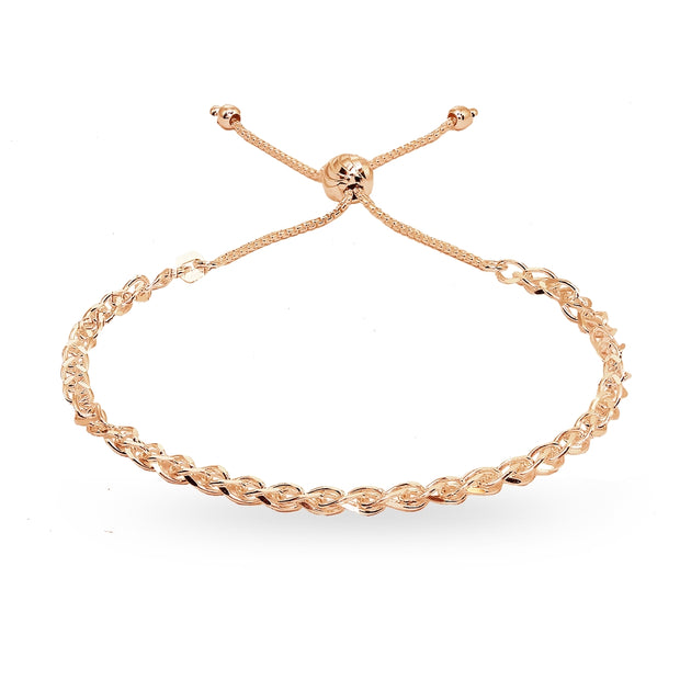 Rose Gold Flashed Sterling Silver Polished Spiga Chain Adjustable Pull-String Bracelet