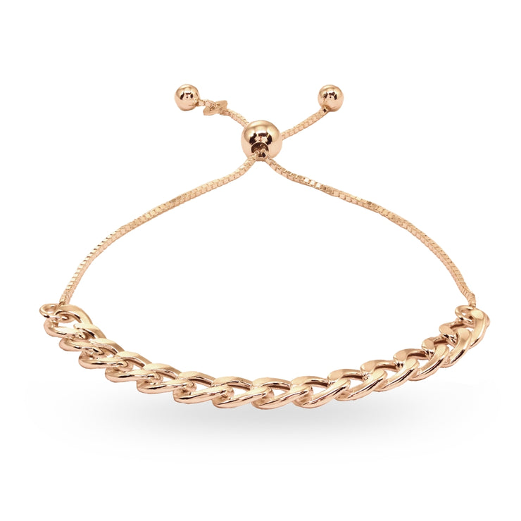 Rose Gold Flashed Sterling Silver Thin Cuban Link Chain Adjustable Pull-String Bracelet