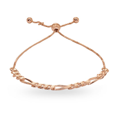 Rose Gold Flashed Sterling Silver Thin Figaro Link Chain Adjustable Pull-String Bracelet