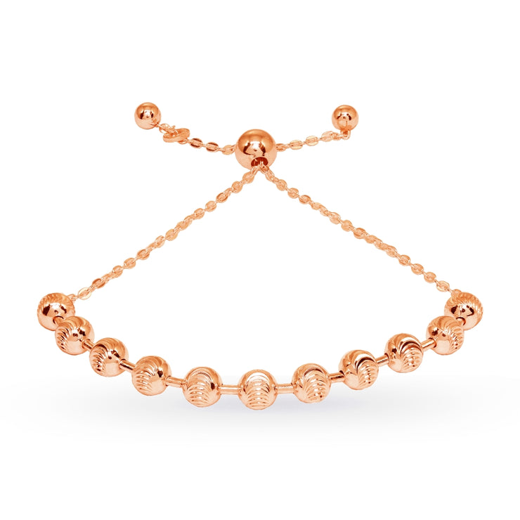 Rose Gold Flashed Sterling Silver Textured Beads Bar Station Chain Adjustable Pull-String Bracelet
