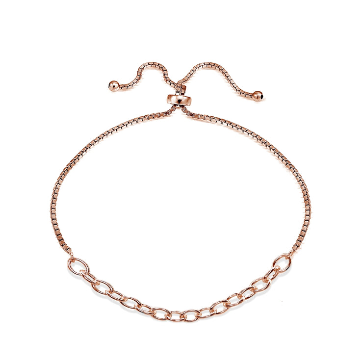 Rose Gold Flashed Sterling Silver Polished Pull-String Loop Adjustable Charm Link Chain Bolo Bracelet