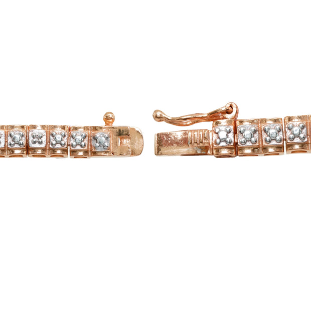 Rose Gold Flashed Sterling Silver Polished Square Diamond Accent Fashion Bracelet, JK-I3