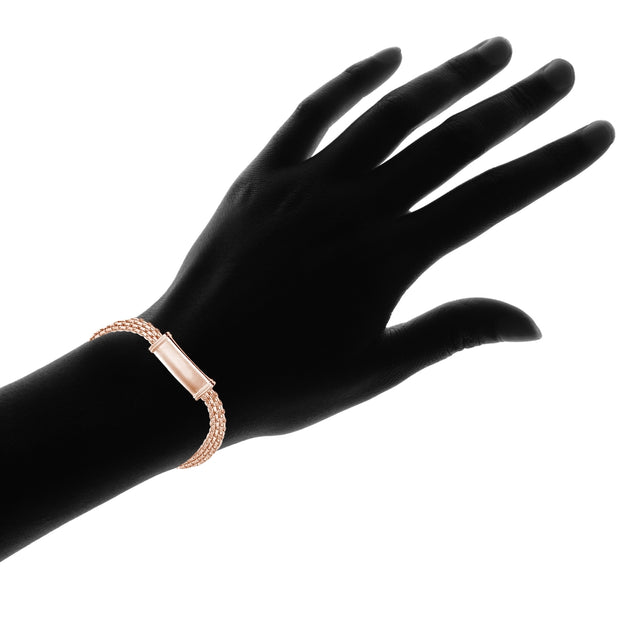 Rose Gold Flashed Sterling Silver Polished Bar Tube Fashion Mesh Chain Bracelet