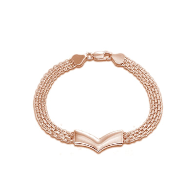 Rose Gold Flashed Sterling Silver Polished Pointed V Chevron Fashion Mesh Chain Bracelet