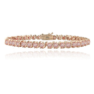 18K Rose Gold Plated 4.85ct Light Pink CZ S Design Tennis Bracelet