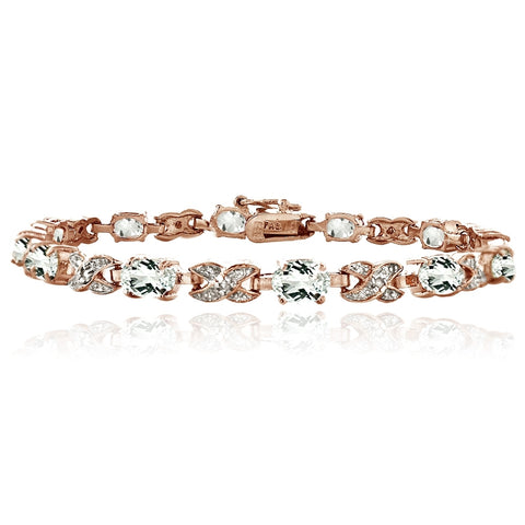 Rose Gold Tone 7.15ct White Topz & Diamond Accent X & Oval Bracelet