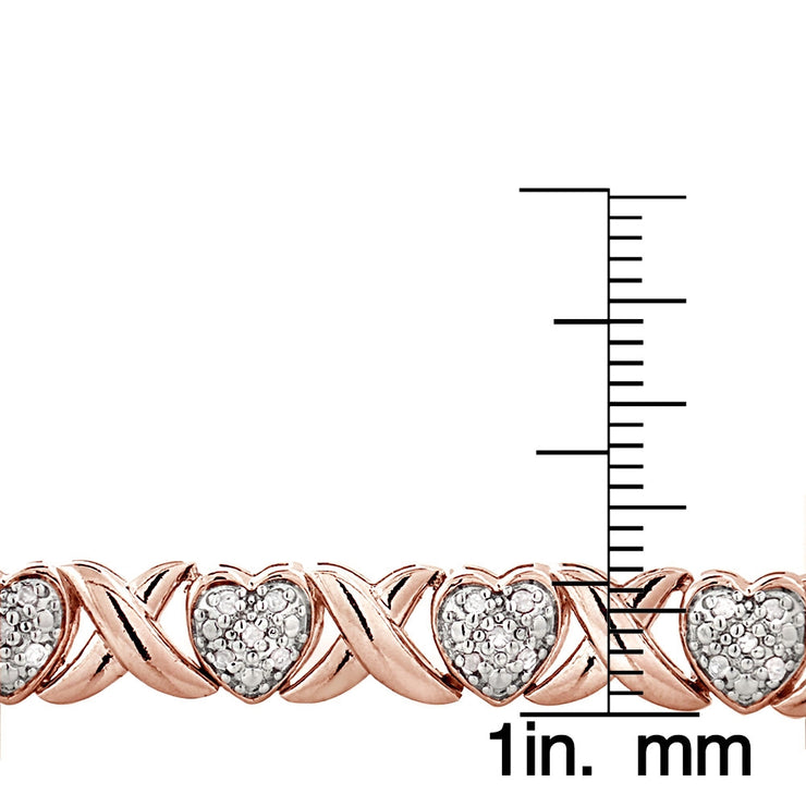 Rose Gold Tone 0.50Ct TDW Diamond X & Heart Tennis Bracelet