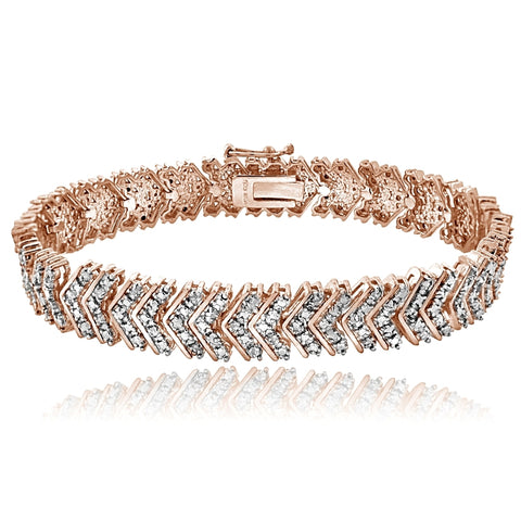 Rose Gold Tone 1.00ctt TDW Diamond Chevron Tennis Bracelet