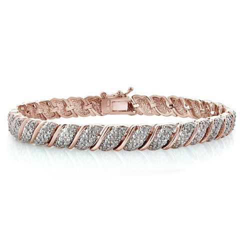Rose Gold Tone 1.00ct Diamond Fancy Design Tennis Bracelet