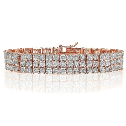 Rose Gold Tone 1.00ct Diamond Miracle Set 3-Row Tennis Bracelet