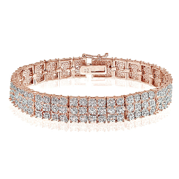 1 ct 3-Row Rose Gold Diamond Tennis Bracelet