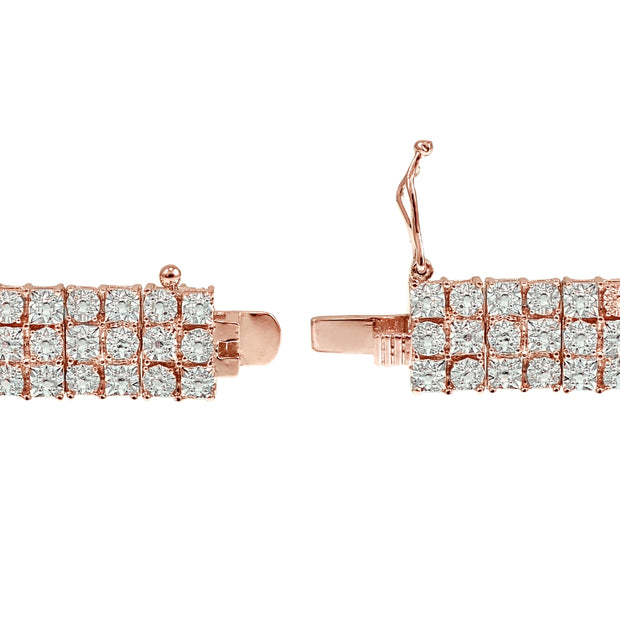 1 Carat 3-Row Rose Gold Diamond Tennis Bracelet