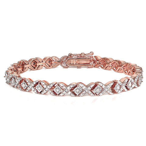 Rose Gold Tone 1.00ct Diamond Miracle Set X Tennis Bracelet
